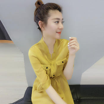 BOBOWALTZ欧货潮 韩版气质显瘦收腰黄色雪纺连衣裙