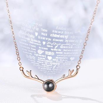 卡洛美 925銀飾一鹿有你情侶項鏈女100種語言鎖骨鏈