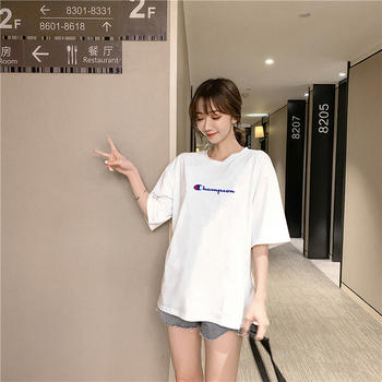 美丽后纯棉卡通印花圆领短袖T恤女百搭