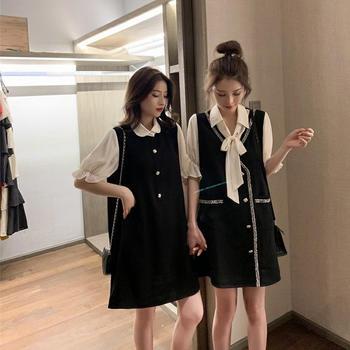 衣岚香韩版小香风假两件闺蜜装连衣裙女