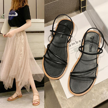 艾微妮韩版新款绑带露趾女鞋平底凉鞋