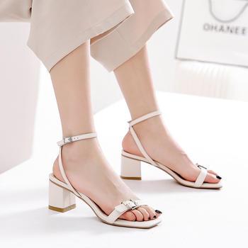 慕沫真皮夏季凉鞋一字扣带细带高跟鞋中空罗马鞋仙女
