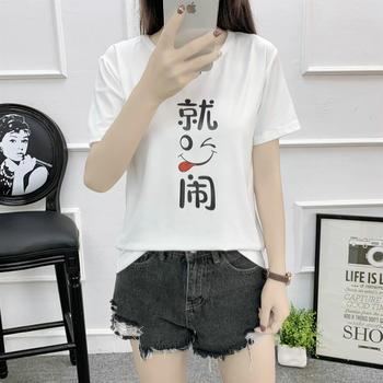 韩版ulzzang时尚百搭半截袖复古港味t恤短袖T恤