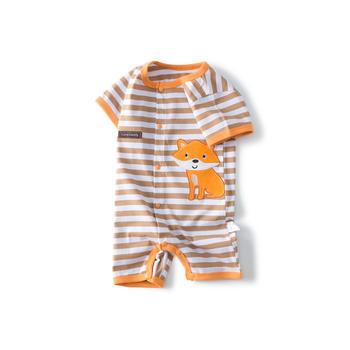Cipango 夏季新款条纹短袖爬服 婴幼儿纯棉哈衣