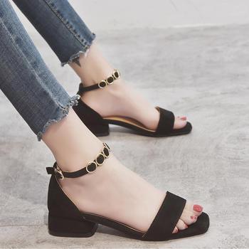 佑黛女鞋夏季新款露趾?#25351;?#39640;跟鞋一字扣带学生仙女鞋