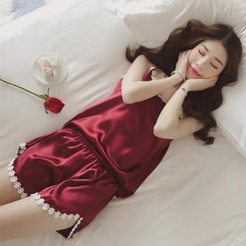 凯丝柔冰丝丝绸吊带家居服花边睡衣短裤套装