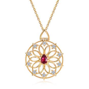 阿梵尼 18K金红宝石吊坠克拉钻石项链复古倾城佳人女
