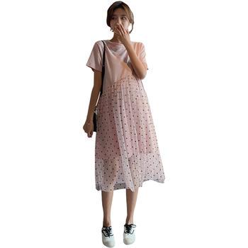 欧丽妈咪孕妇连衣裙夏季新款时尚宽松网纱上衣潮妈