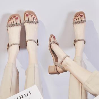 ZHR新款仙女风ins潮粗跟细带凉鞋女水钻透明百搭高跟鞋