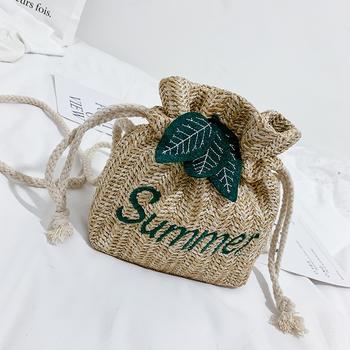 千黛名媛海洋风夏季编织水桶包简约单肩包