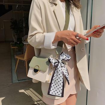 雅诗罗欧美时尚丝巾撞色单肩女包百搭斜挎小方包
