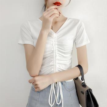 亮片闪光修身T恤衫女夏V领抽绳系带褶皱短款