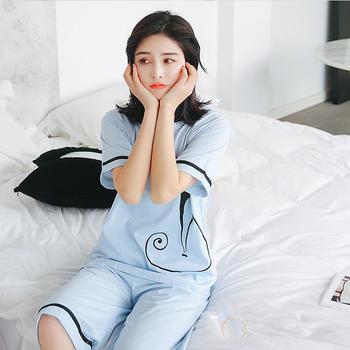 纪妍薇 韩版休闲女睡衣套装夏季家居服短袖棉质外穿