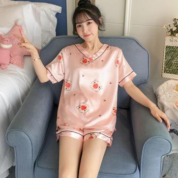 纪妍薇 夏季冰丝女睡衣套装丝滑舒适家居服两件套11色