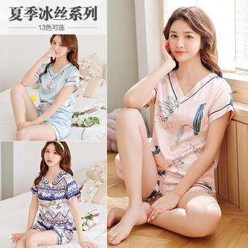 纪妍薇 韩版冰丝女睡衣套装短袖丝滑家居服两件套13色