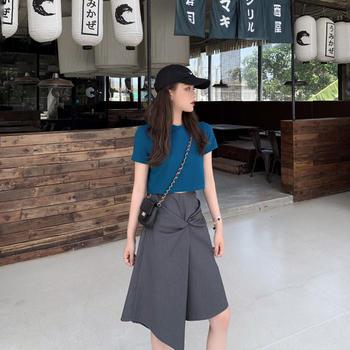 短款T恤超正精梳纯棉+美人鱼裙显瘦抽褶A字半裙