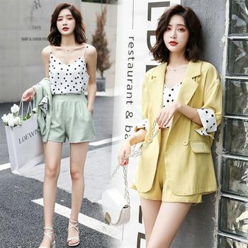 网红小西装女士套装韩版宽松薄款百搭棉麻西服短裤