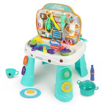 彩泥桌儿童橡皮泥餐台过家家玩具DIY超轻粘土玩具