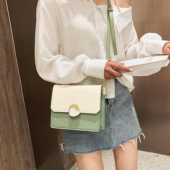 宾尼兔韩版时尚撞色女包小方包包百搭锁扣斜挎包
