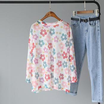 甜美时尚花朵长袖蕾丝T恤衫夏季防晒上衣