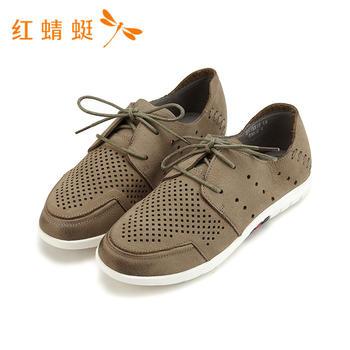 红蜻蜓镂空牛皮系带休闲款舒适平底女单鞋B81551