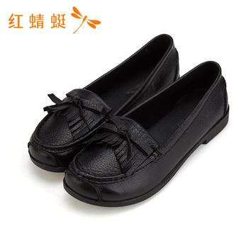 红蜻蜓女鞋圆头牛皮套脚简约纯色妈妈鞋女鞋B80621