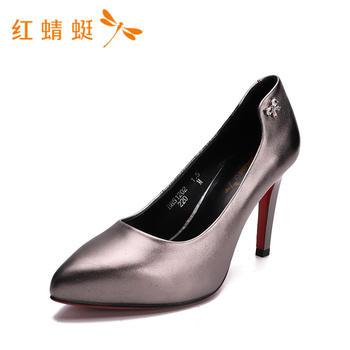 红蜻蜓女鞋新款时尚百搭尖头浅口超高跟女单鞋B85120