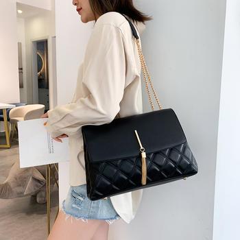 雅涵欧美时尚绣线菱格女包单肩包百搭斜挎大容量包包
