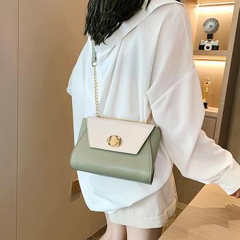 雅诗罗欧美时尚撞色女包链条包包单肩锁扣包
