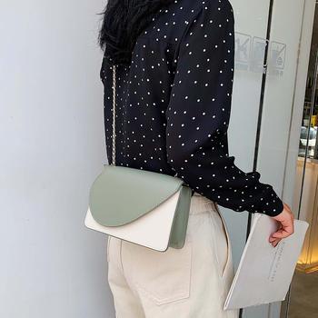 雅诗罗韩版新款个性撞色单肩女包百搭斜挎链条小方包