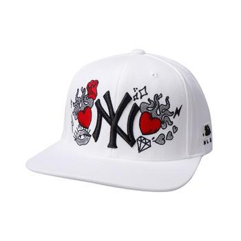 MLB美职棒NY棒球帽男女情侣平檐帽子玫瑰爱心刺绣