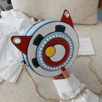 INME韩版重工珍珠装饰时尚小圆包ins超火链条包