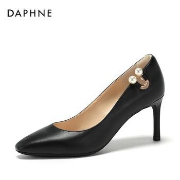 Daphne/达芙妮优雅珍珠浅口高跟通勤单鞋女1018101100