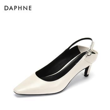 Daphne/达芙妮秋复古方头纯色时尚后空高跟鞋1018402012