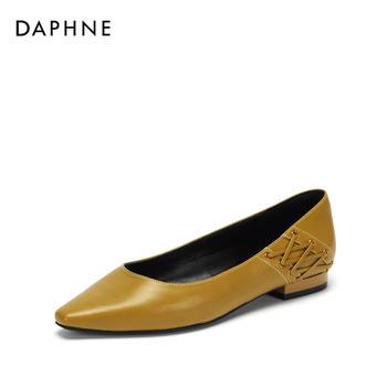 Daphne/达芙妮方头浅口时尚绑带通勤单鞋女1018404020