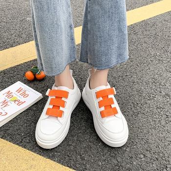蝶恋霏韩版时尚拼色魔术贴厚底小白鞋