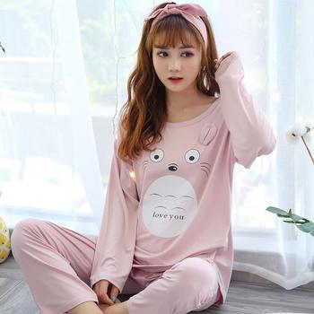 纪妍薇 春秋季女士睡衣套装可爱龙猫长袖长裤家居服