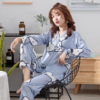 纪妍薇 韩版女士睡衣套装卡通史努比开衫家居服长袖