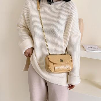 雅涵韩版新款绣线菱格单肩女包时尚百搭链条小包包