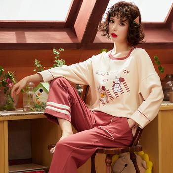 韩版 春秋款长袖女睡衣套装可爱卡通长袖家居服外穿