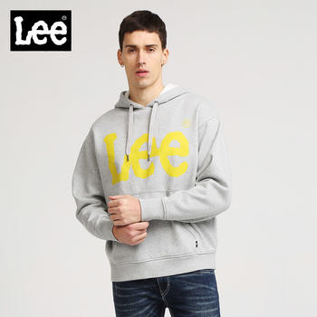 Lee商场男装灰色连帽长袖卫衣宽加绒袋鼠兜L296312SBG5M