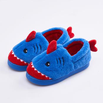 可爱鲨鱼儿童棉鞋 远港全包跟男女童冬季保暖棉鞋
