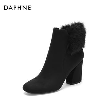 Daphne/达芙妮复古绒毛镶边绒面高跟圆头短靴女1018607009