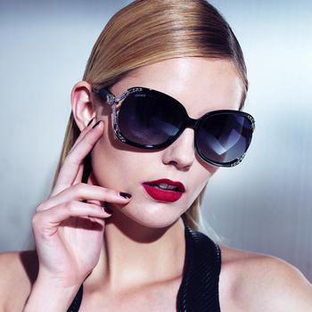 威古氏女士太阳镜复古镶钻大框偏光墨镜