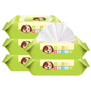 可爱多盖装宝宝婴儿湿巾100抽*5包湿巾