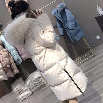 羽绒服女中长款新款爆款大毛领白鸭绒过膝加厚外套