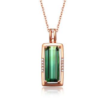 阿梵尼  18K金钻石绿碧玺吊坠女 玫瑰金色长方形锁骨链