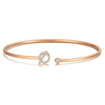 今上珠宝  18K玫瑰金钻石手镯女 开口 圆形钻石手链