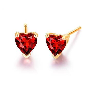 阿梵尼  9K金心形石榴石耳钉女士 单只 黄金色耳环