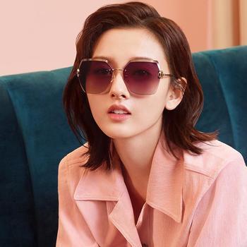 帕森太阳镜女宋祖儿明星同款眼镜无框多边形尼龙片潮墨镜新品8286